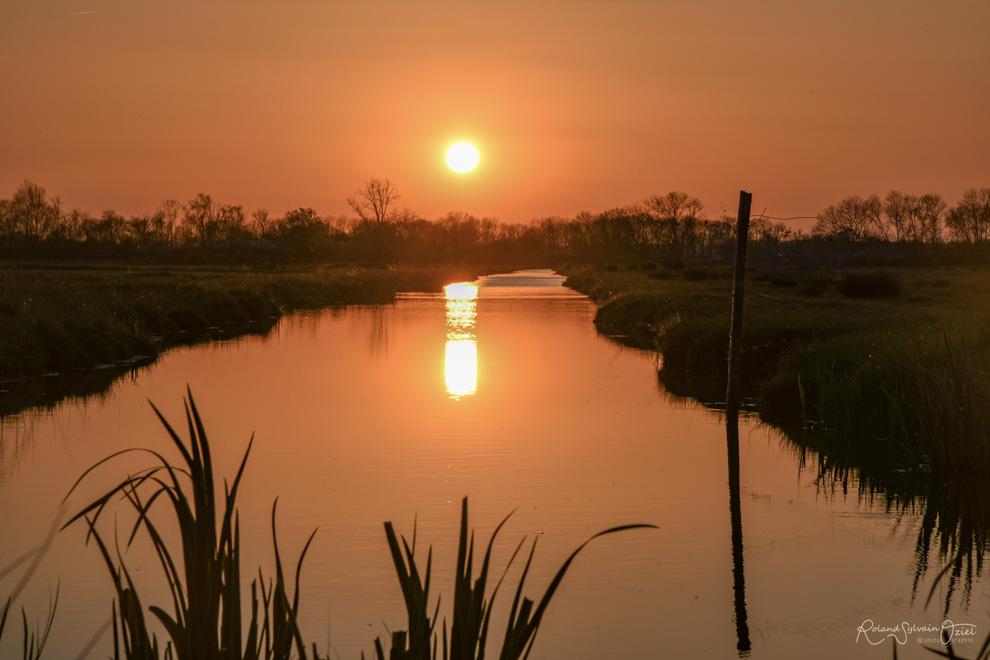 Soleil couchant sur le Marais Poitevin